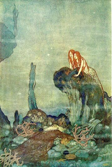"Edmund Dulac. The Little Mermaid, illustration for William Shakespeare's ""The Tempest"""
