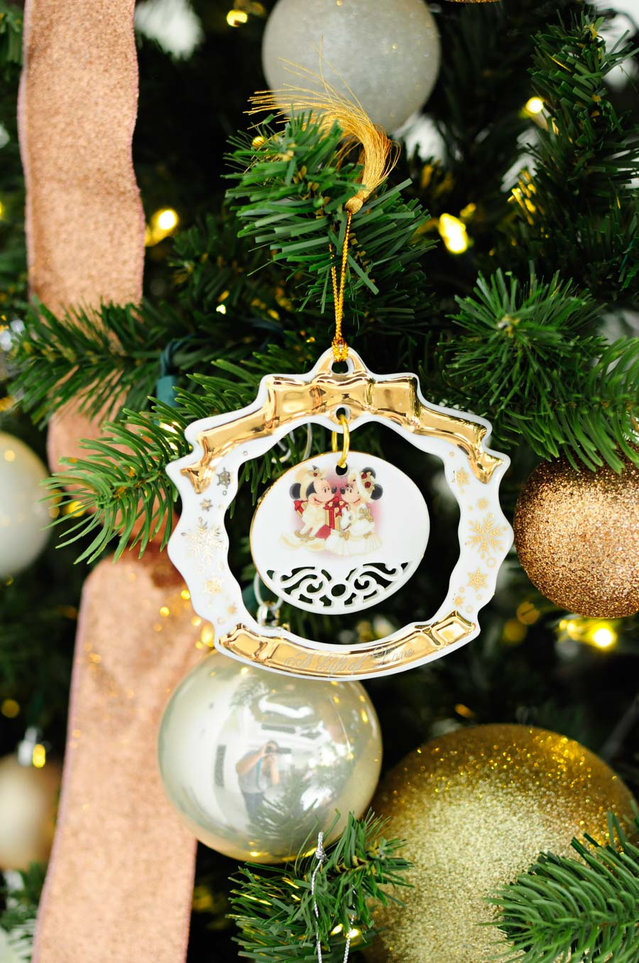 A Disney World wedding ornament captures special memories on the Christmas tree.