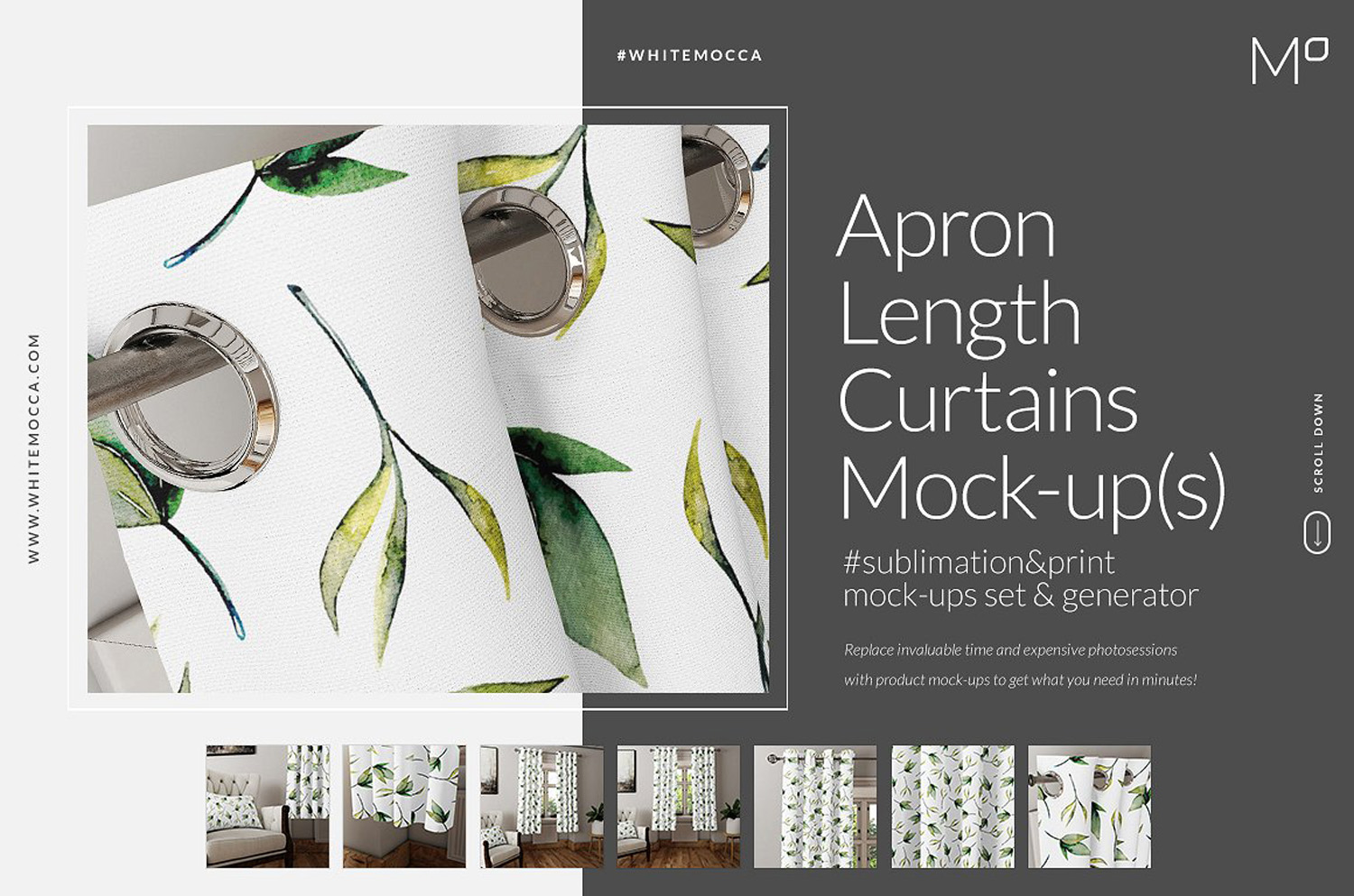 Apron Length Curtains Mockups
