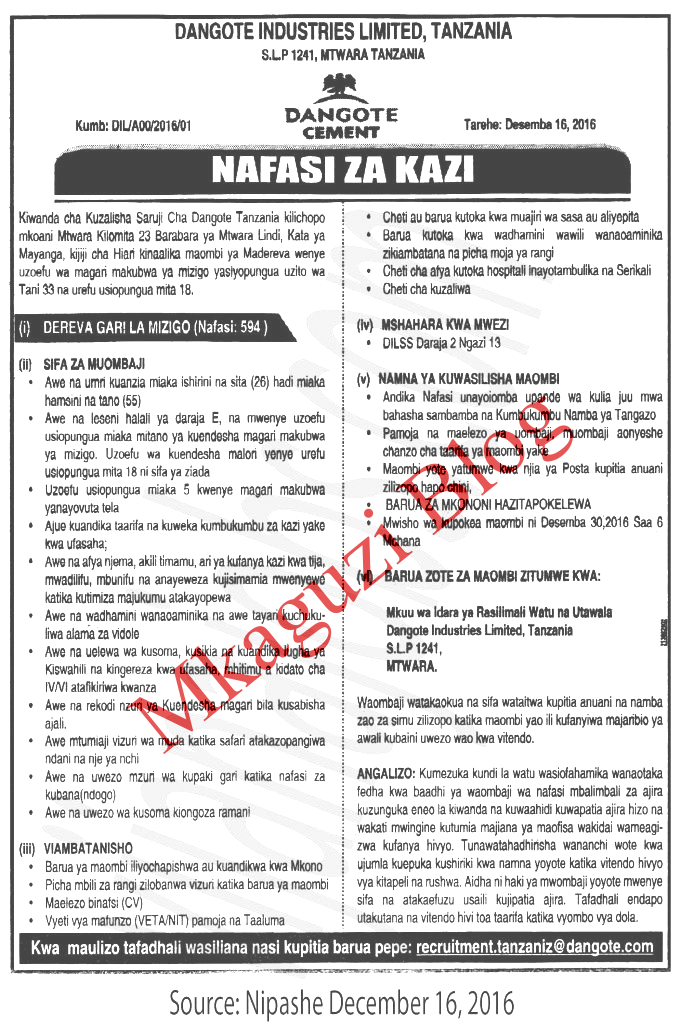 Drivers Jobs at Dangote Mtwara (594 Jobs) | Ajira zetu - Zoom