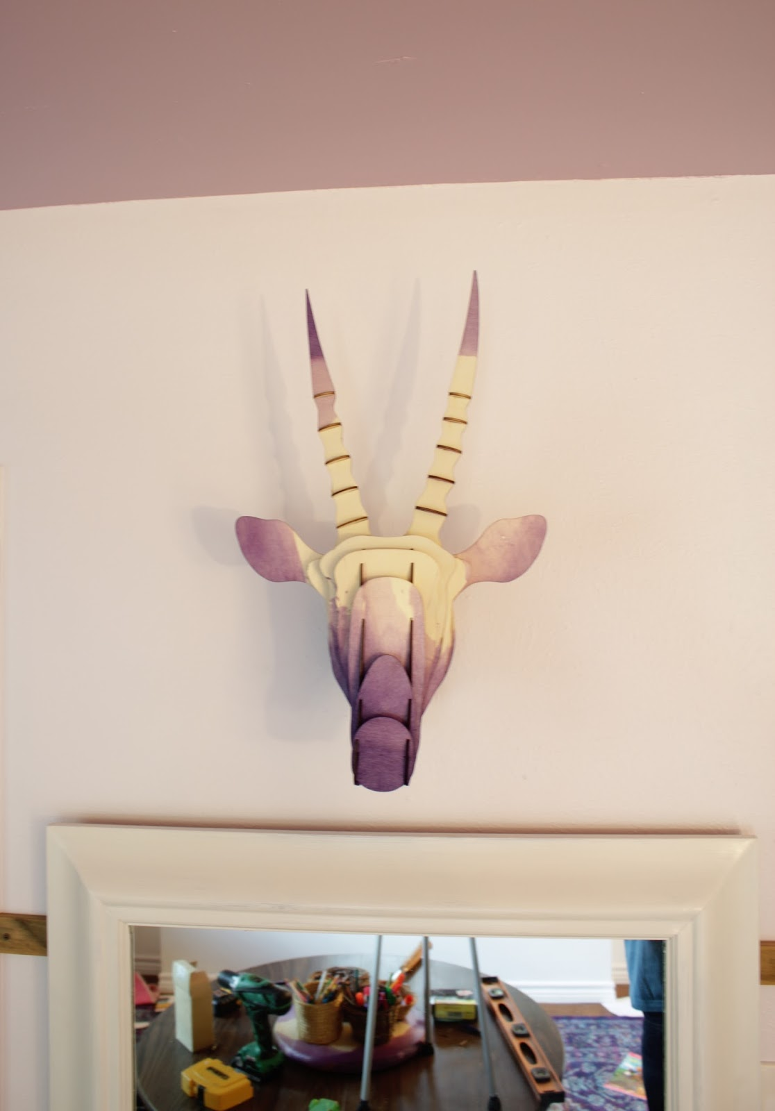 Dip dyed wooden animal bust