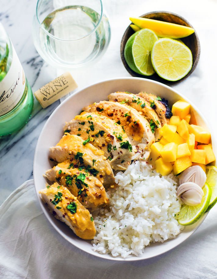 Gluten-Free Chili Lime Mango Marinated Chicken Bowls