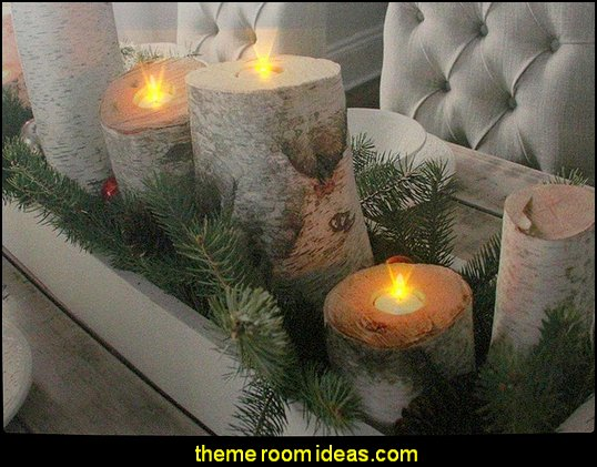 Woodland Birch Christmas Candles  Rustic Christmas decorating ideas - rustic Christmas decorations - Vintage - Rustic - Country style Christmas decorating - rustic Christmas decor - Christmas stockings