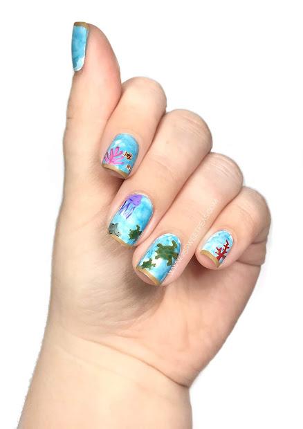 ocean nail art sea turtles