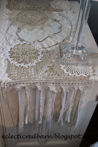 Eclectic Red Barn: Doily dresser scarf , side lace