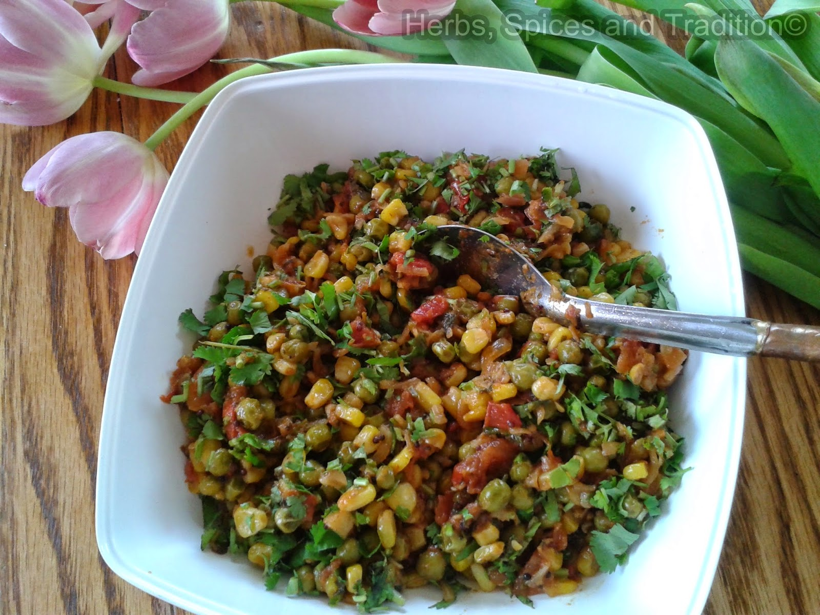 Herbs, Spices and Tradition: PEAS AND SWEET CORN SIDE DISH