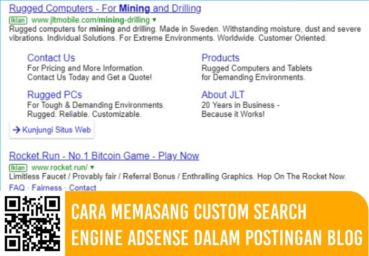 Cara Memasang Custom Search Engine AdSense Dalam Postingan Blog