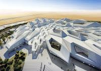 Çeşitli geometrik şekillerdeki yapılara sahip bir kompleks tasarımı