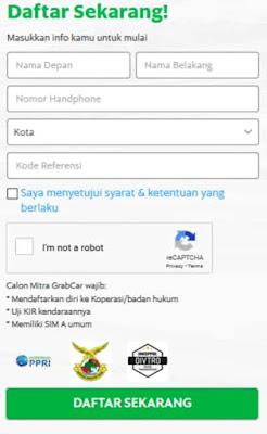 Formulir GrabCar  Bandung