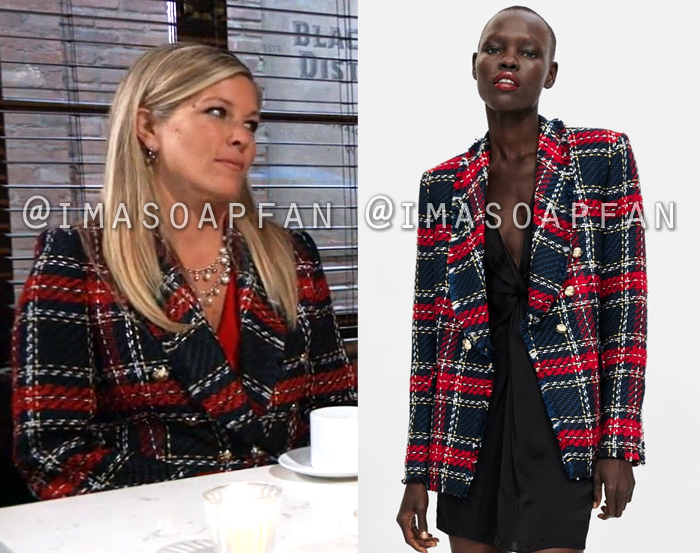 Carly Quartermaine, Laura Wright, Red and Navy Blue Tweed Coat, General Hospital, GH