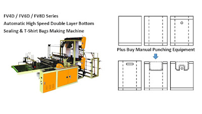 Double Layer Bottom Sealing & Semi T-Shirt Bags Making Machine