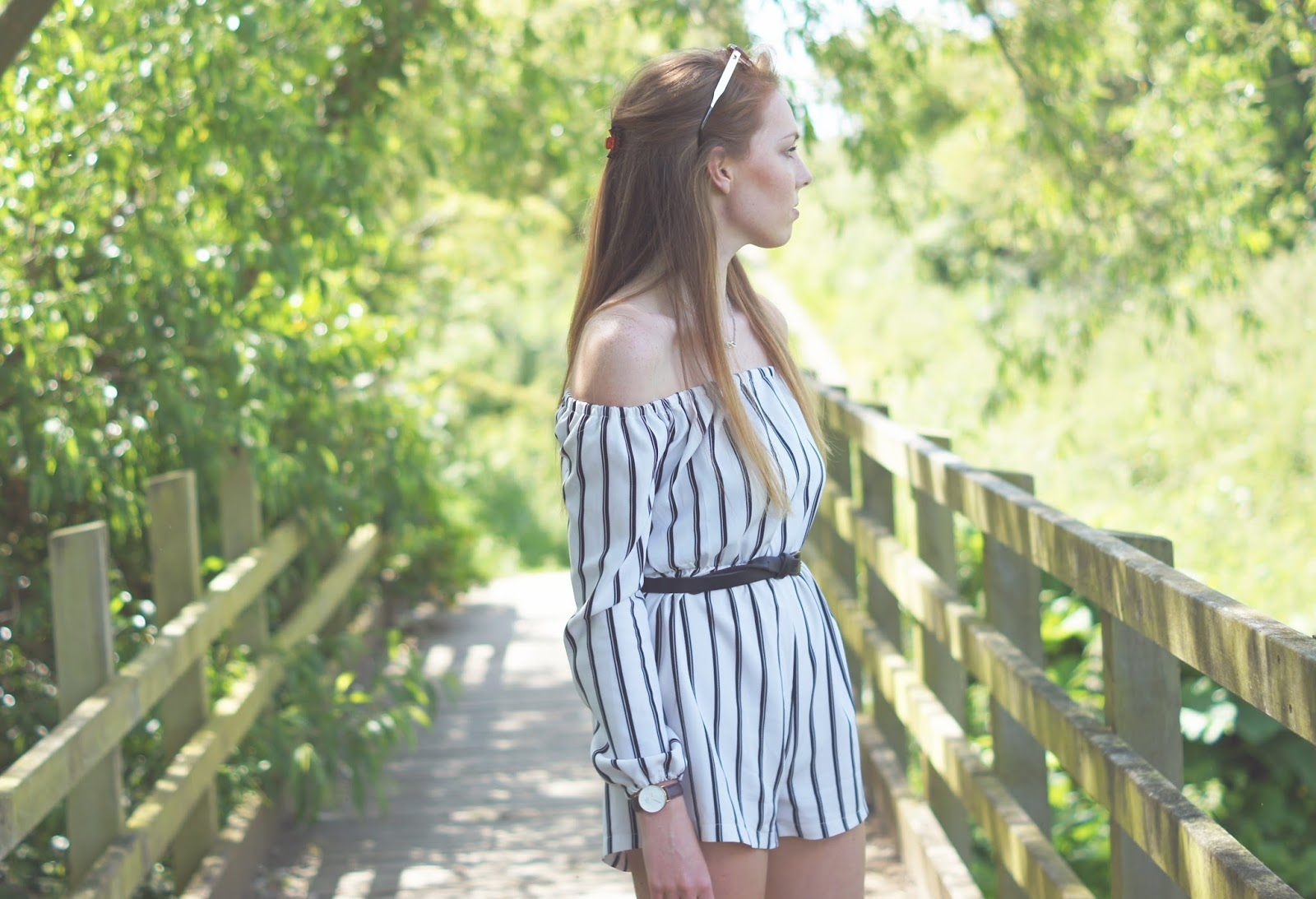 monochrome pinstriped playsuit