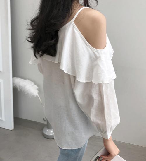 Self-Tie Back Strap Cold Shoulder Blouse