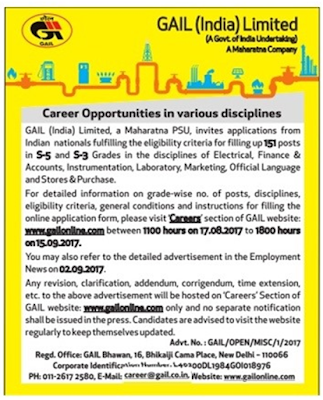GAIL 151 S-5 and S-3 Grades Recruitment 2017 Last Date 15th September 2017