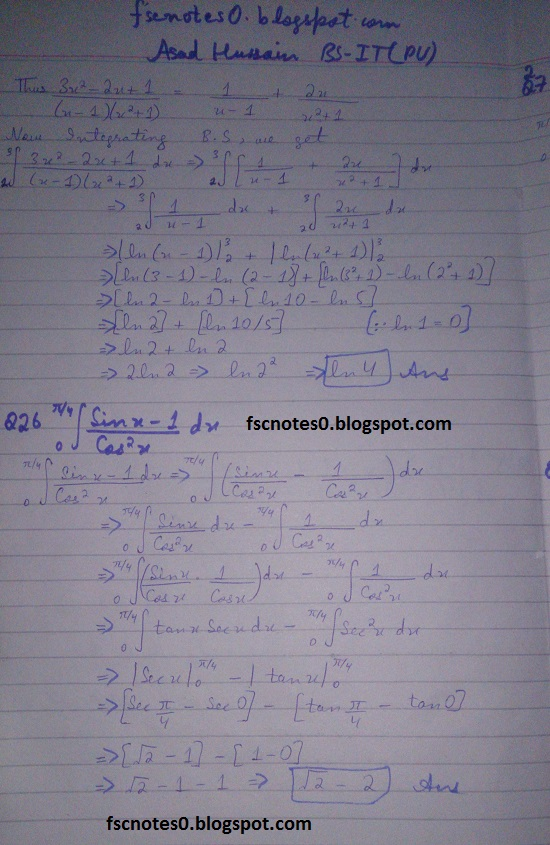 FSc ICS Notes Math Part 2 Chapter 3 Integration Exercise 3.6 question 24 - 28 by Asad Hussain 1