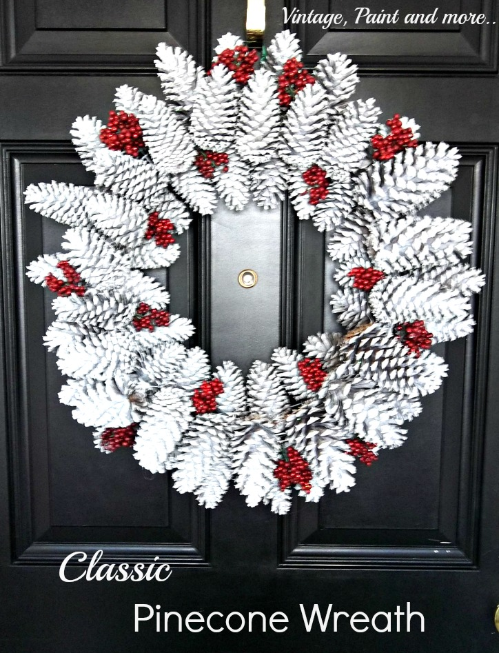 Vintage, Paint and more... winter wreath made from pine cones and spray painted