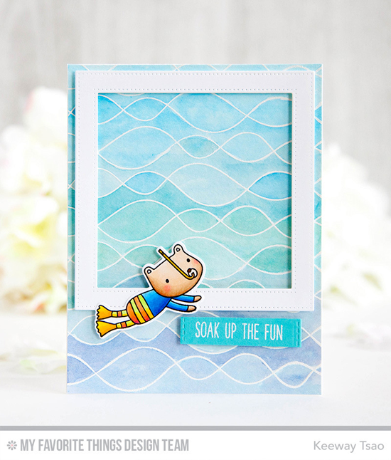 Handmade card from Keeway Tsao featuring Soak up the Fun stamp set and Die-namics, Whimsical Waves Background stamp, Pierced Square Frames, and Blueprints 29 Die-namics #mftstamps