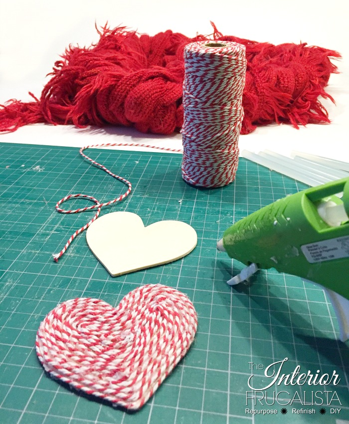 DIY Valentine Scarf Wreath Bakers Twine Hearts