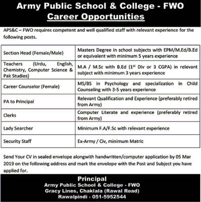 Army Publice School jobs in Rawalpindi jobs 2019