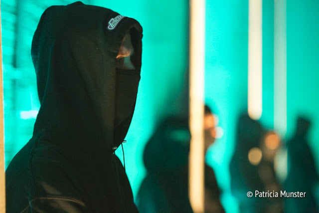 Black hooded army at Reconstruct at Amsterdam Fashion Week
