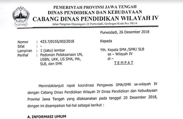 Informasi Pedoman Pelaksanaan UN Cabang Dinas Wilayah IV (Grobogan dan Blora)