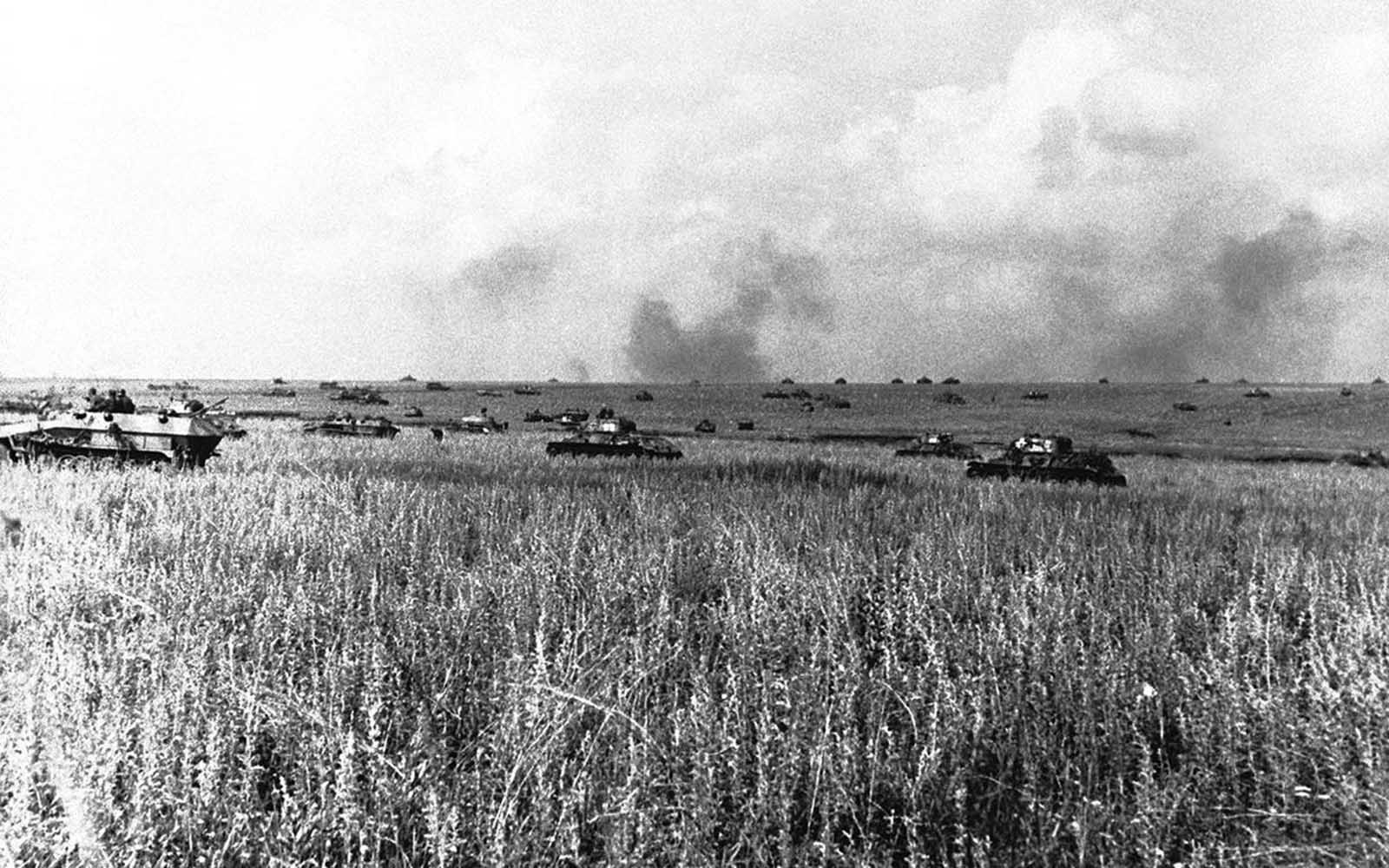 Huge numbers of German tanks concentrate for a new attack on Soviet fortifications on July 28, 1943, during the Battle of Kursk. After taking months to prepare for the offensive, German forces fell far short of their objectives - the Soviets, having been aware of their plans, had built massive defenses. After the German defeat at Kursk, the Red Army would effectively have the upper hand for the rest of the war.