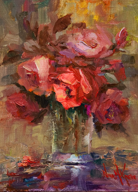 "Art & Spirit Artist Nora Kasten ""glass Of Red Roses"" Oil Painting"