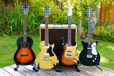 Yamaha CSF-60, Les Paul 55-77 TV Special, Partsocaster, MIM Strat, MIJ Strat, Danelectro 1959 double cutaway, Peavey Classic 50, 4x10