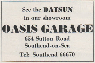 Oasis Garage, Southend-on-Sea Datsun advert 1969