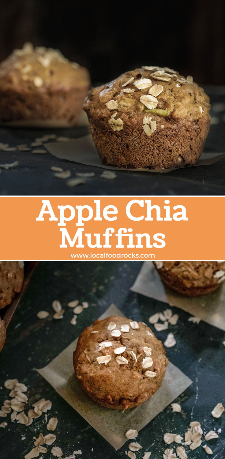 Apple chia muffins with cinnamon, nutmeg, and allspice are the perfect way to welcome a crisp Fall morning. | Local Food Rocks