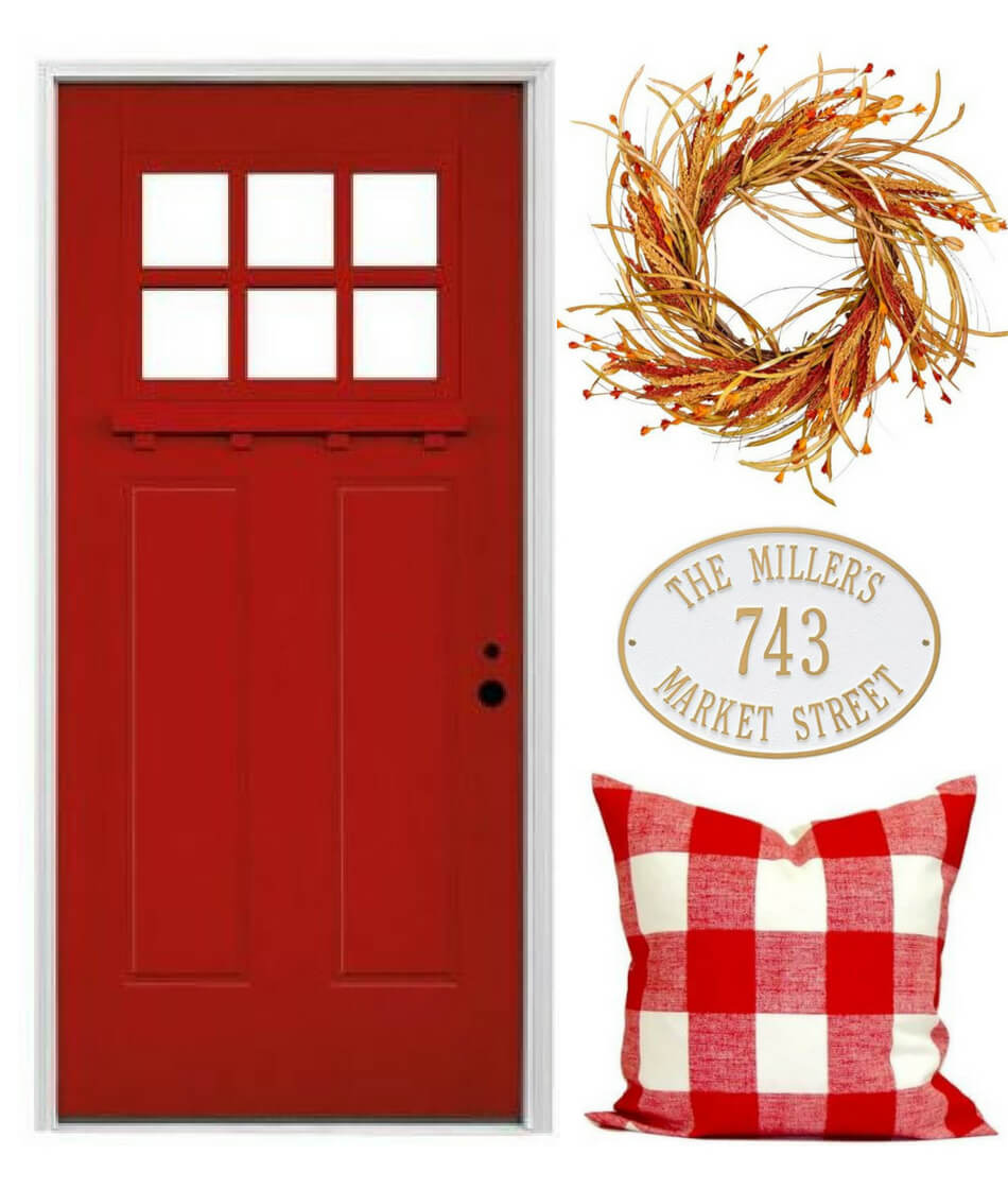 fall decorating ideas for red front door porch