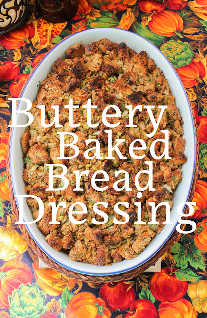 Food Lust People Love: Beautifully toasted on top, this buttery baked bread dressing is the perfect accompaniment to your holiday meal. Bake it in a casserole dish or use it to stuff a bird.