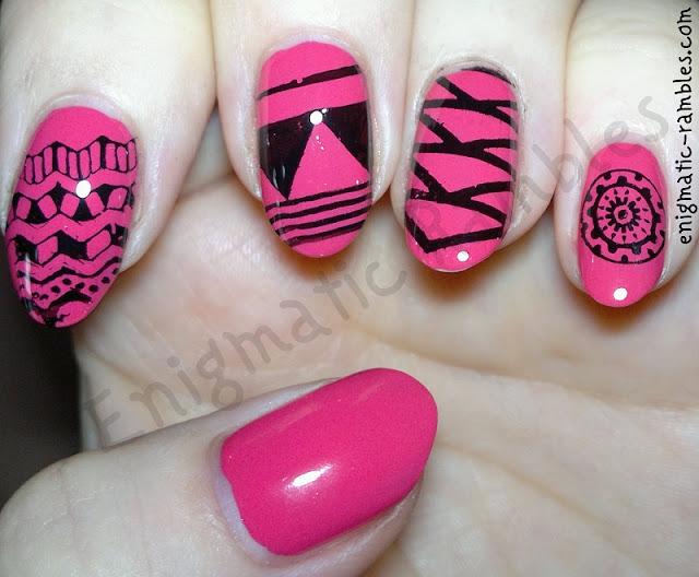 Tribal-Hot-Pink-Nails-Nail-Art-bundle-monster-402-bm402-403-bm403