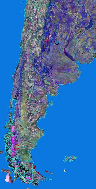 Gambar Peta Argentina tampak dari satelit