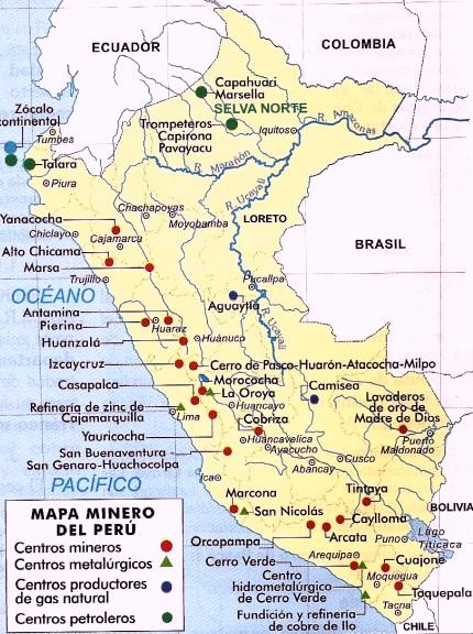 Dibujo de un mapa donde se encuentran las principales minerías del Perú