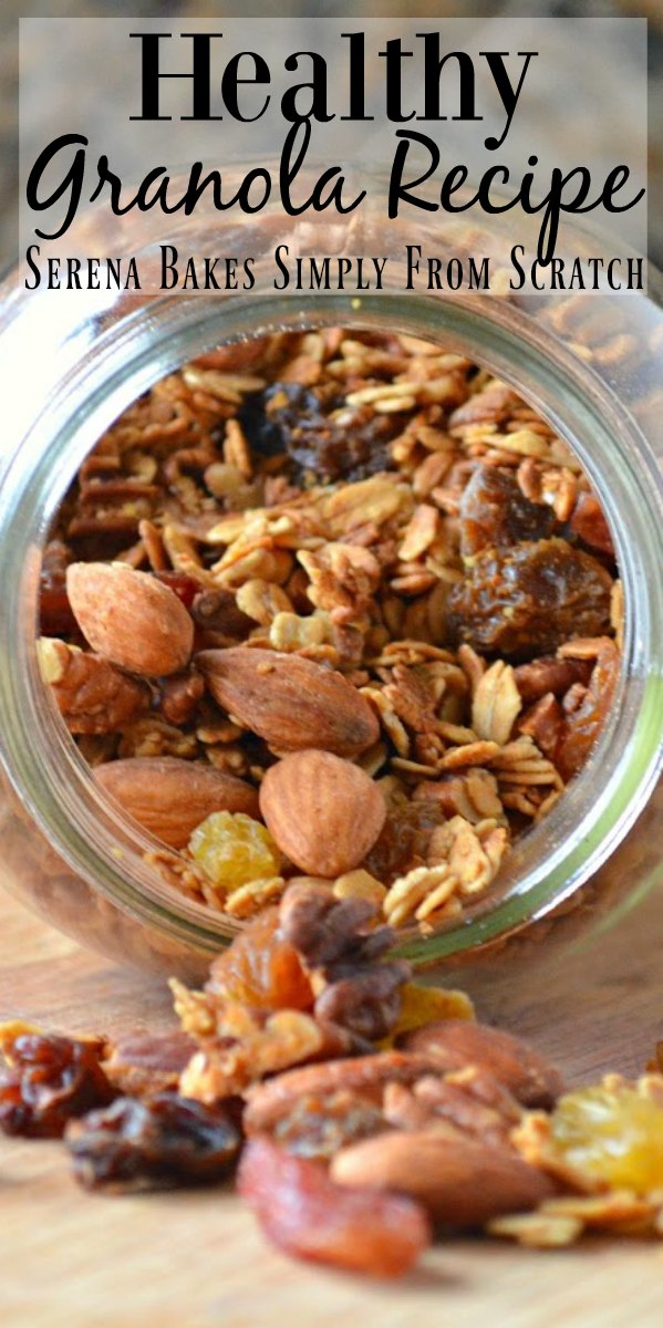 Easy to make Healthy Granola recipe is so delicious plain as a snack or for breakfast with milk or homemade yogurt from Serena Bakes Simply From Scratch.