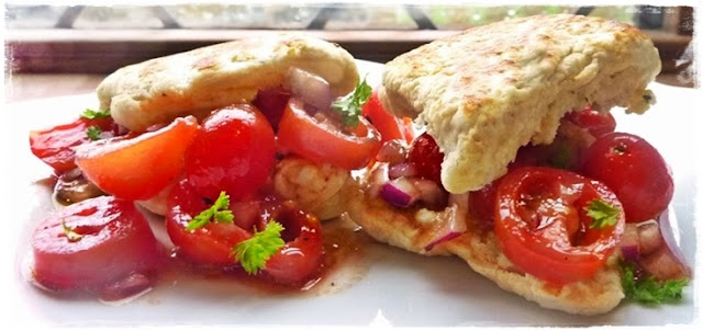 homemade cream cheese scones filled with tomato salad