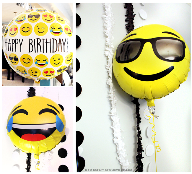 emoji balloons, shades emoji, laughing emoji, emoji birthday party decor