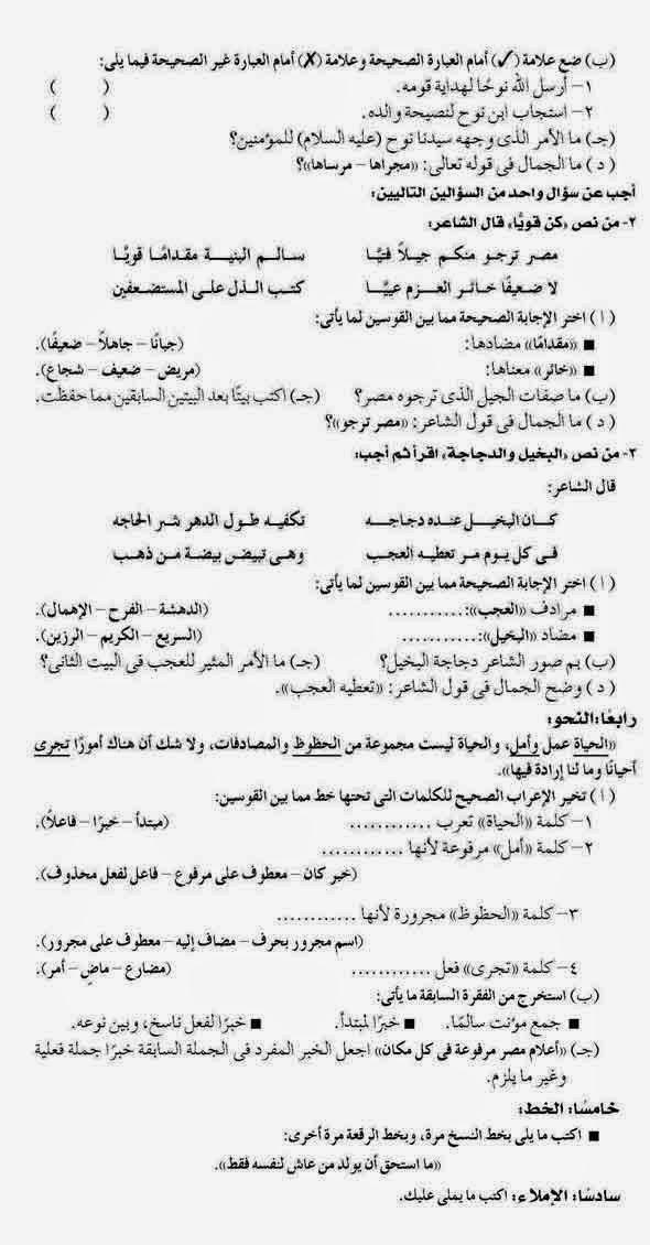 امتحان اللغة العربية محافظةالفيوم للسادس الإبتدائى نصف العام ARA06-19-P2.jpg