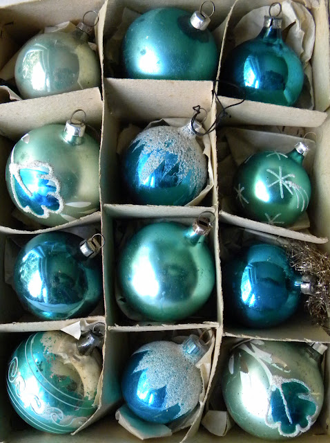 Vintage German glass teal blue Christmas tree decorations