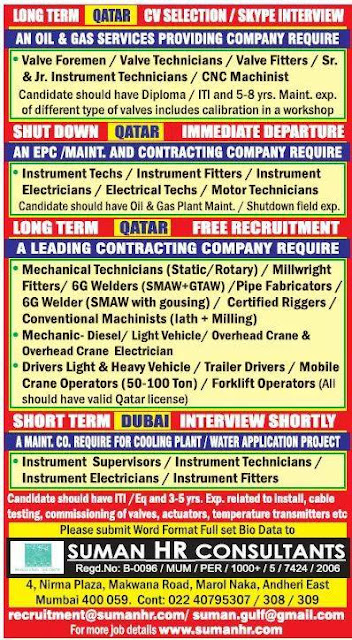 Qatar and Dubai Jobs at Suman HR Consultants