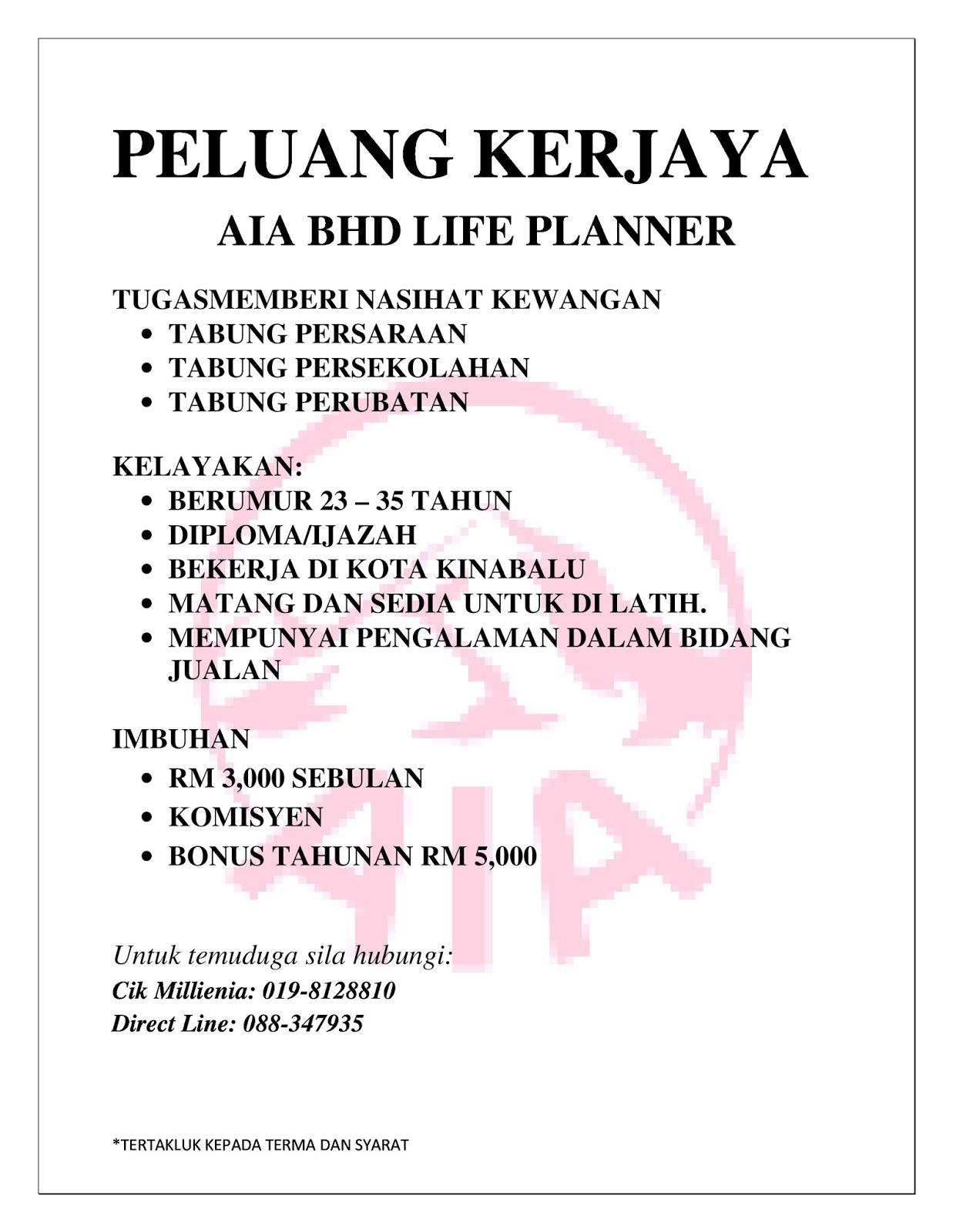 Search Tag Job id 04 lifeplannerjobs jawatan kosong sabah AIA life planner portal