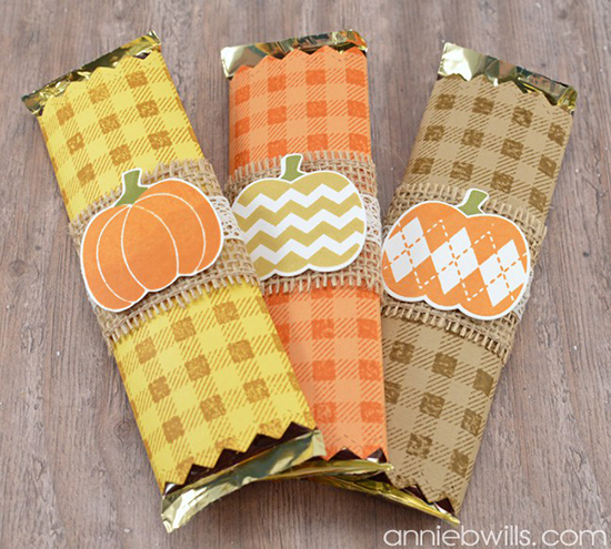 Pumpkin and burlap candybar wrappers by Annie B Willis | Pick-a-Pumpkin stamp set by Newton's Nook Designs #newtonsnook