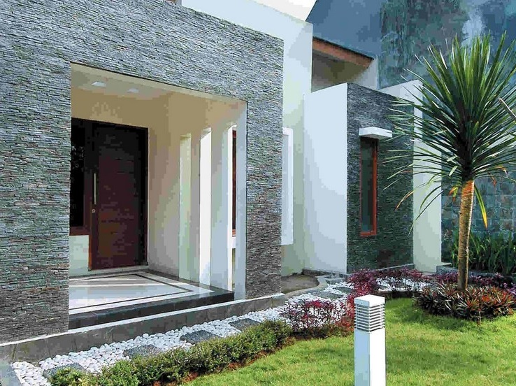 Desain Rumah Minimalis Tampak Depan Dengan Batu Alam Jogja
