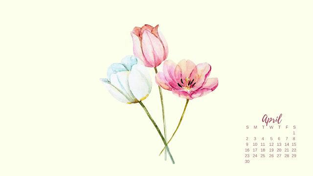 Watercolor Spring Flowers April 2017 Calendar Desktop Wallpaper 1 / www.thejoyblog.net