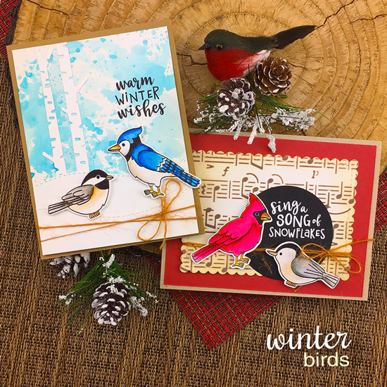 Bird Cards by Jennifer Jackson | Winter Birds Stamp Set and Music Stencil by Newton's Nook Designs #newtonsnook #handmade