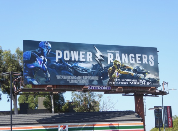 Blue Yellow Power Rangers billboard