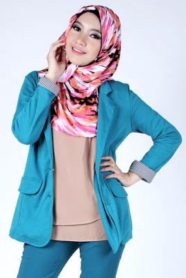 foto hijab untuk pesta foto hijab unik Padu padan hijab pink dan biru