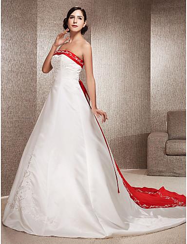 vestidos elegantes de novia con color rojo