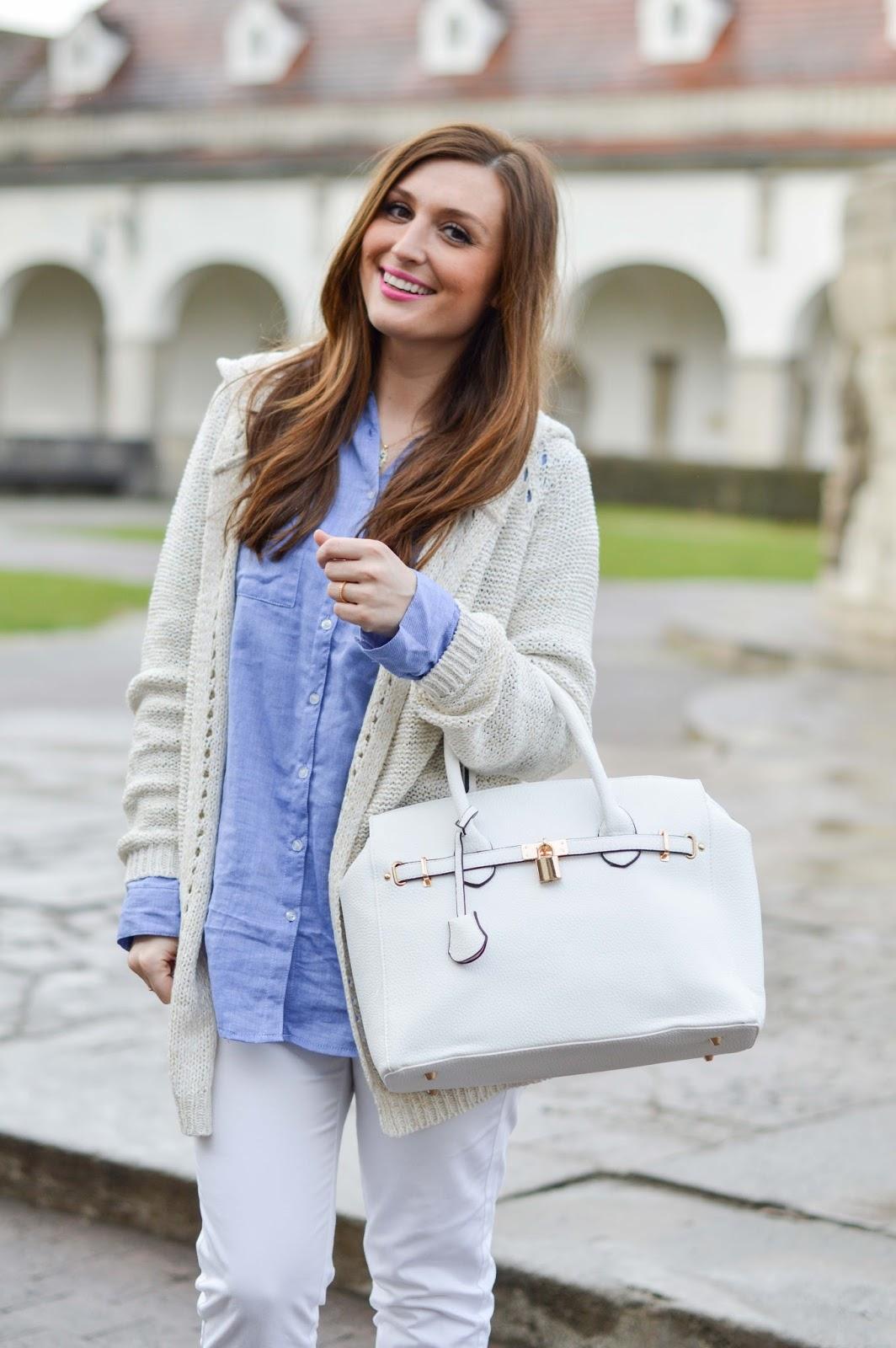 Fashionstylebyjohanna - Frankfurt Fashionblogger - Outfitinspiration Fashionblogger - Weiße Hose - Weiße Tasche - Just Fab - My Colloseum